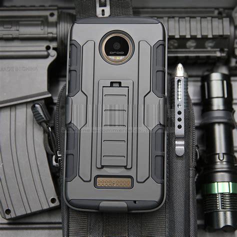Shock Proof Armor Motorola Moto Z2 Play 3in1 hybrid shockproof armor belt clip holster shell cover for motorola moto z z2