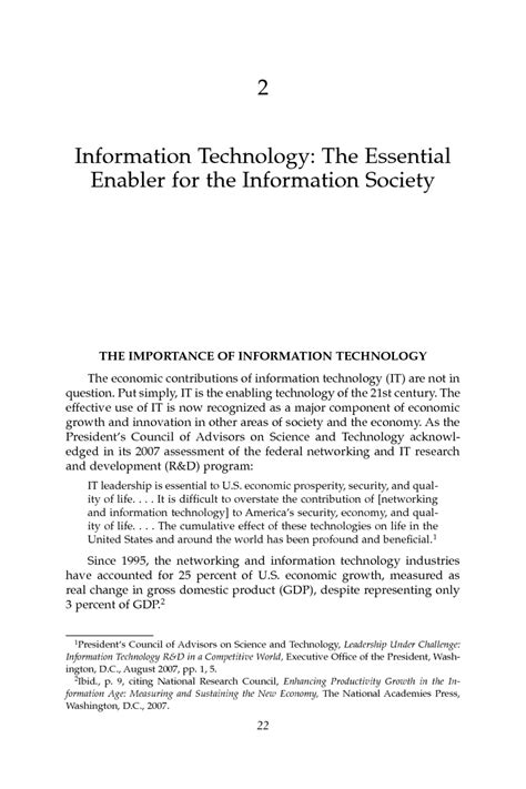 Technology In Our Society Essays by 2 Information Technology The Essential Enabler For The Information Society Assessing The