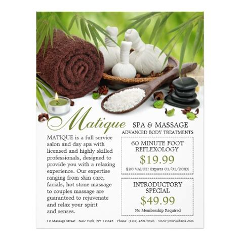 spa coupon template spa salon flyer template with coupons 8 5 quot x 11 quot spa