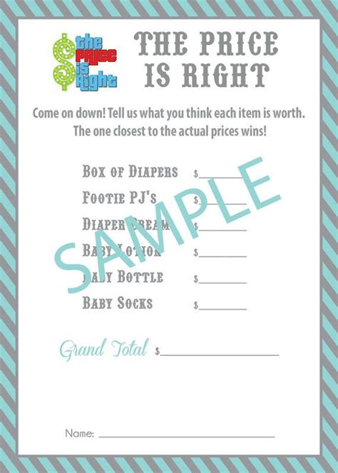 how to play price is right baby shower price is right baby shower