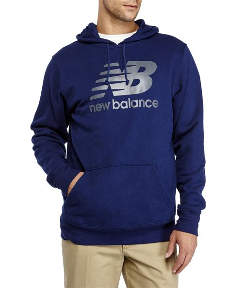 New Balance Graphic Hoodie lyst new balance graphic logo hoodie in blue for