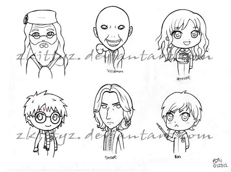 harry potter chibi coloring pages harry potter chibis by zkittyz on deviantart