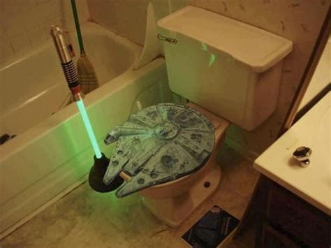 Lightsaber Toilet Plunger and Millennium Falcon Toilet