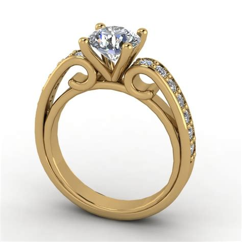 14k yellow gold engagement ring with moissanite