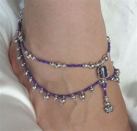 Bead Anklet purple and silver beaded drop anklet