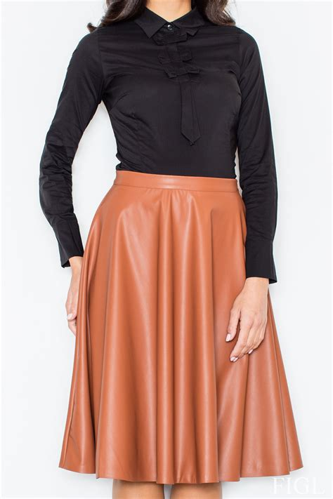brown leather flared knee length skirt