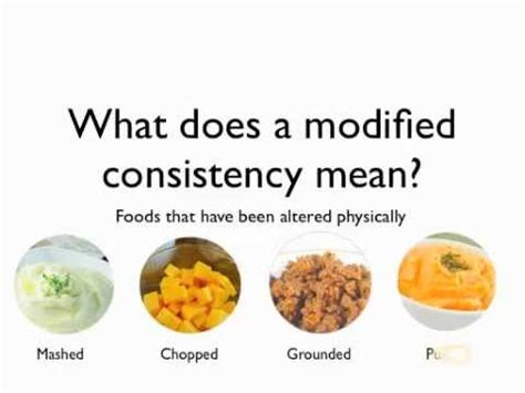 Modification Work Meaning by Understanding Modified Consistency Diets