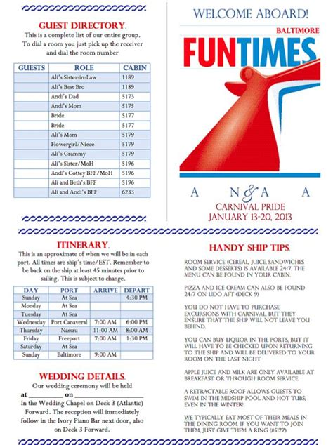 carnival cruise themes carnival cruise funtimes themed wedding welcome letter