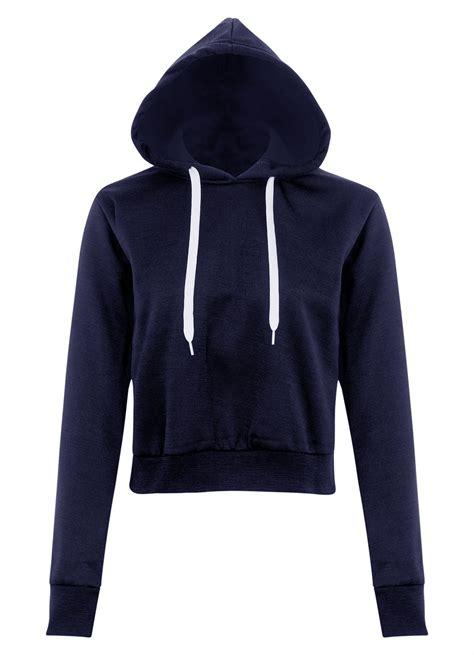 Sweater Crop Top Murah Bahan Flecee 1 new womens fleece plain hooded crop top sleeve pullover sweatshirt