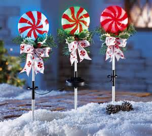 set of 3 peppermint holiday solar powered stake lights yard lawn christmas decor ebay