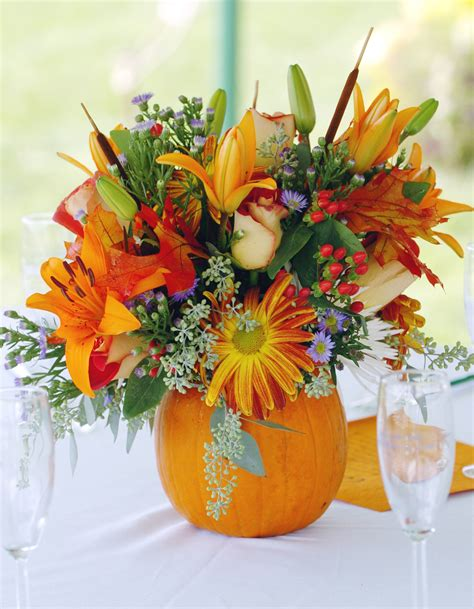 pumpkin bouquet centerpieces thanksgiving floral centerpieces