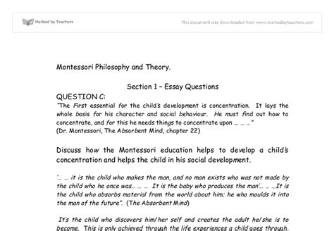Montessori Theory Essay by Montessori Philosophy And Theory Education And Teaching Marked By Teachers
