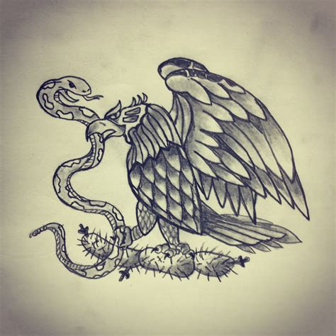 mexican eagle and snake tattoo design eagle snake cactus mexico flag by ranz