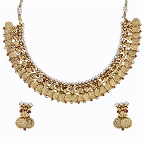 buy crystal jewelry sets onlinelaxmi coin setsearrings buy red pearl lakshmi gold coin temple antique necklace