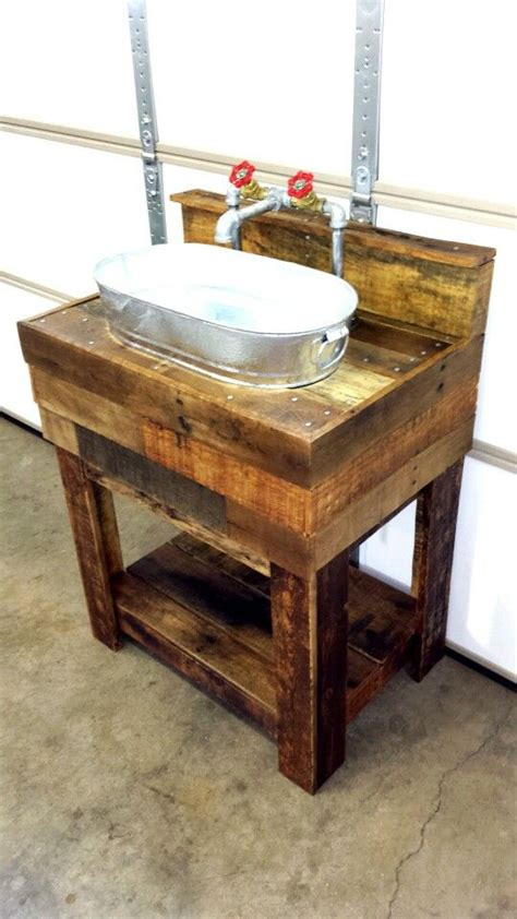 pallet board bathroom vanity and galvanized sink