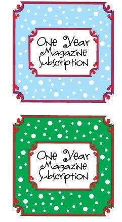 magazine gift subscription tag christmas goodies and