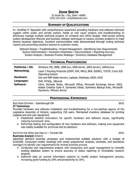 resume templates it it technician resume template premium resume sles