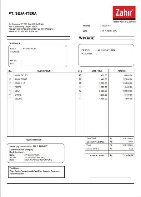 membuat invoice otomatis contoh invoice mudah contoh bait
