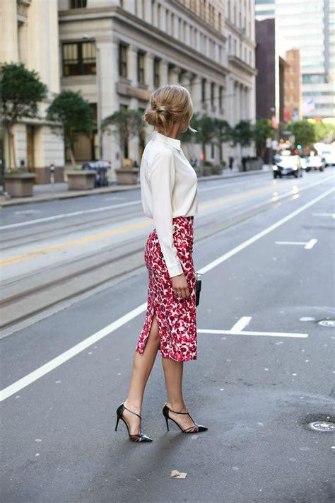 floral midi skirt and lace up blouse memorandum nyc