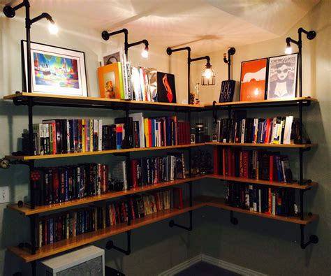 lighted pipe supported shelves