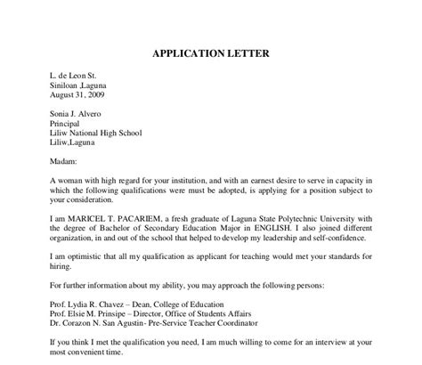 College Graduate Application Letter Letter Of Application Letter Of Application For High School Graduate
