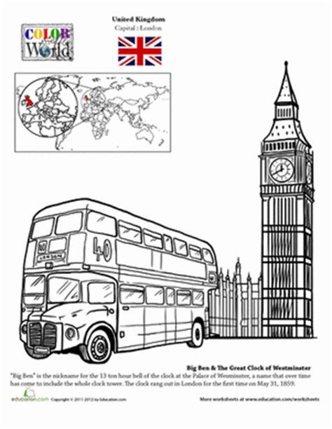 coloring pages of places around the world london worksheet education com