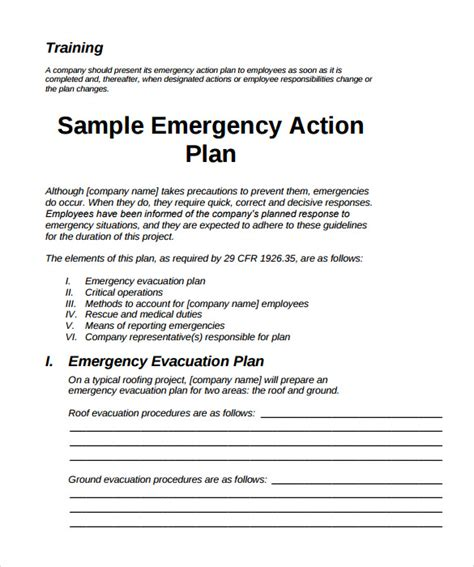 11 Sle Emergency Action Plan Templates Sle Templates Osha Safety Plan Template