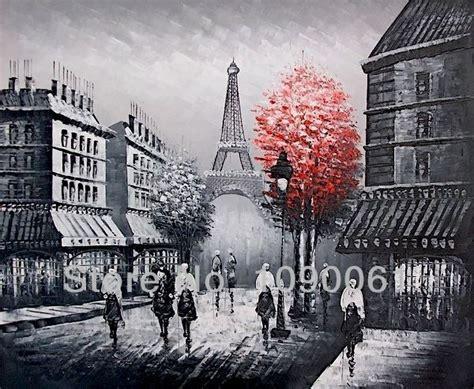 Bingkai Photo Eifel buatan tangan modern yang abstrak landscape eiffel menara stree lukisan hitam putih dan