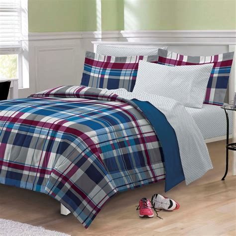 twin bedding sets boy new varsity plaid teen boys bedding comforter sheet set