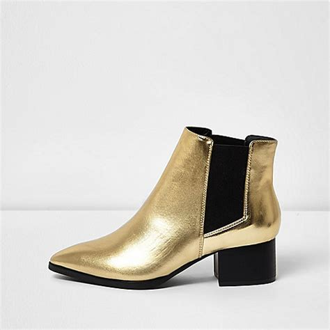 gold block heel chelsea boots boots shoes boots