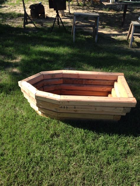 boat planter landscape timbers outdoor garden furniture