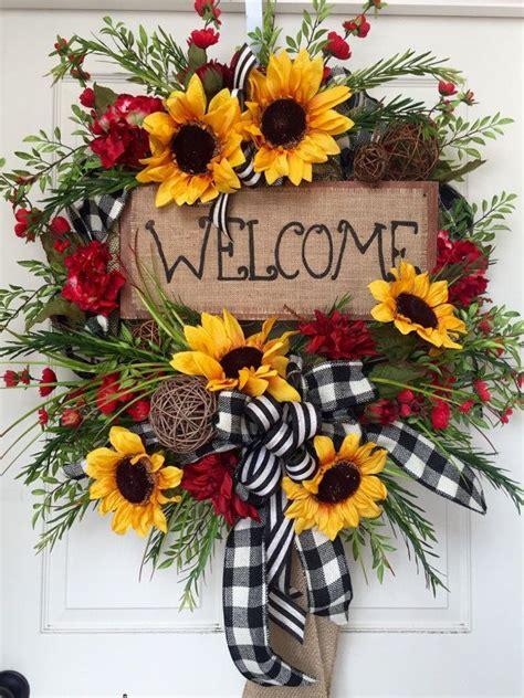 sunflower wreaths sunflower wreath hessian fabric