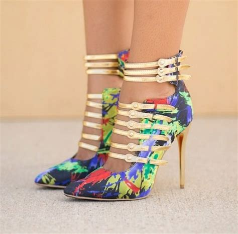 multi colored heels shoes heels multicolored heels wheretoget