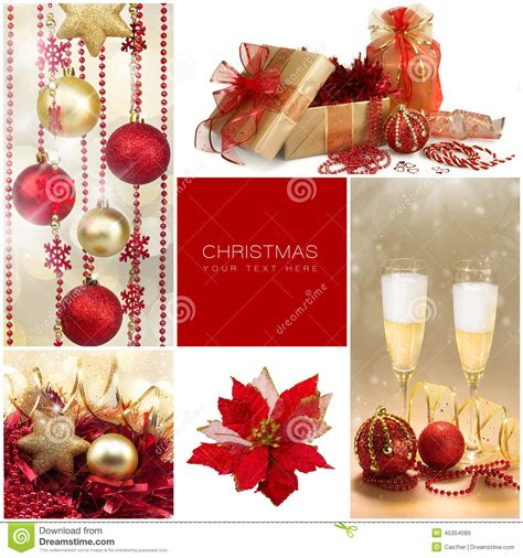 christmas set winter holiday gifts golden and red