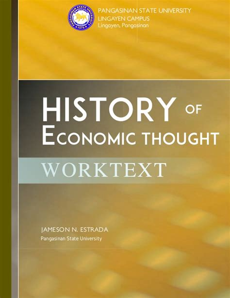 History Of Economic Thought history of economic thought worktext