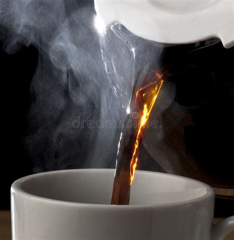 hot coffee pouring   pot stock image image
