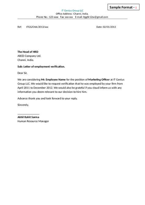 Employment Letter Format 2018 letter of employment fillable printable pdf forms handypdf