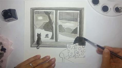 Bedroom Window Drawing Window View Ink Drawing Using Dip Pen And Paintbrush