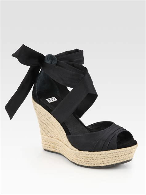 tie up wedge sandals ugg lucianna tie up silk and suede espadrille wedge