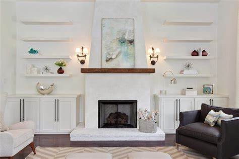 contemporary built in cabinets fireplace mantel with built in cabinets living room