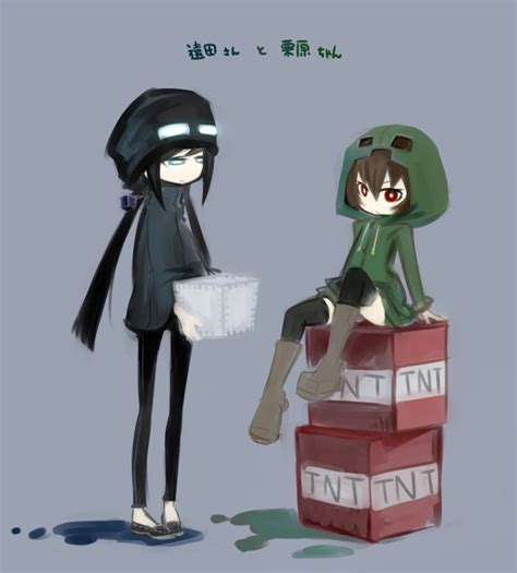 imagenes anime minecraft cute creeper and enderman together creeper