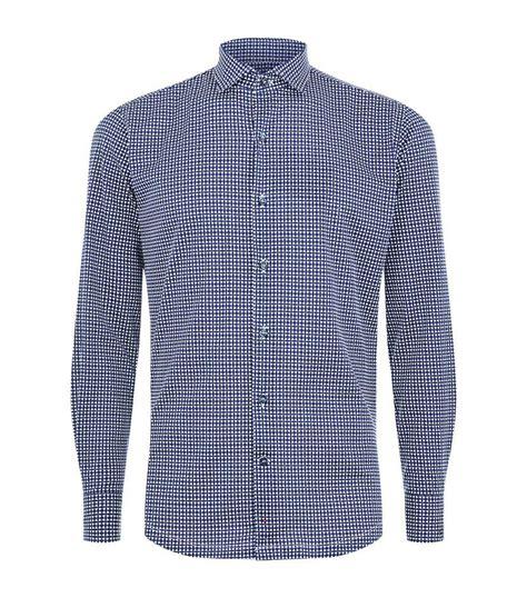 01a292rcandy Color Geometric Shape Casual Design Blue lyst paul shark geometric print shirt in blue for