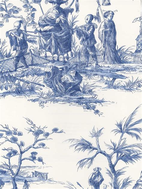 wallpaper toile blue blue sh80502 asian toile wallpaper