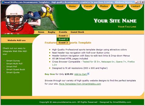 templates for football website football template