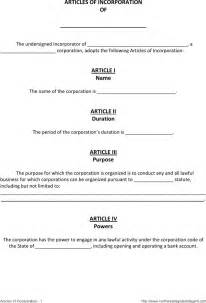 free article of incorporation template the articles of incorporation template 1 can help you make
