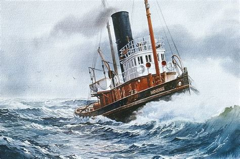 tugboat painting quot steam tug iroquois quot watercolor in tugboat paintings