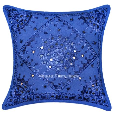 Accent Pillows Blue Boho Accent 16x16 Decorative Mirrored Cotton Throw