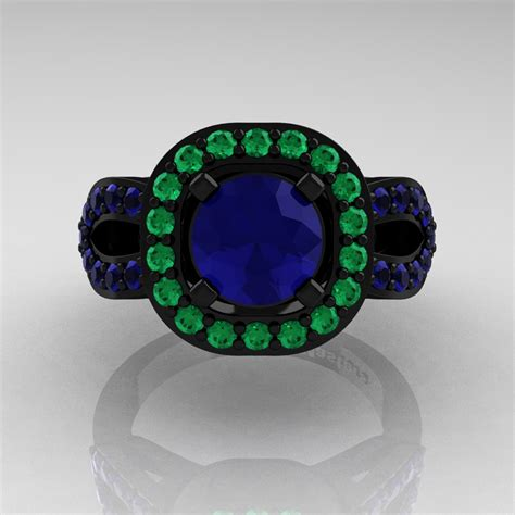 classic 14k black gold 1 0 ct blue sapphire emerald