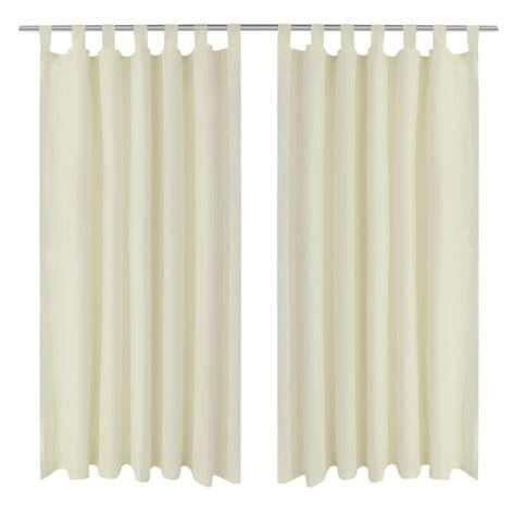 satin curtain panels vidaxl co uk 2 pcs cream micro satin curtains with loops