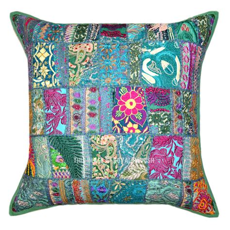 Patchwork Pillow - 24 x 24 quot green multi boho patchwork embroidered pillow